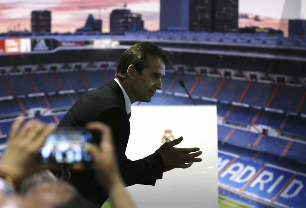 Newly appointed Real Madrid coach Julen Lopetegui arrives at a press conference in Madrid, Thursday, June 14, 2018. Lopetegui was the Spanish National