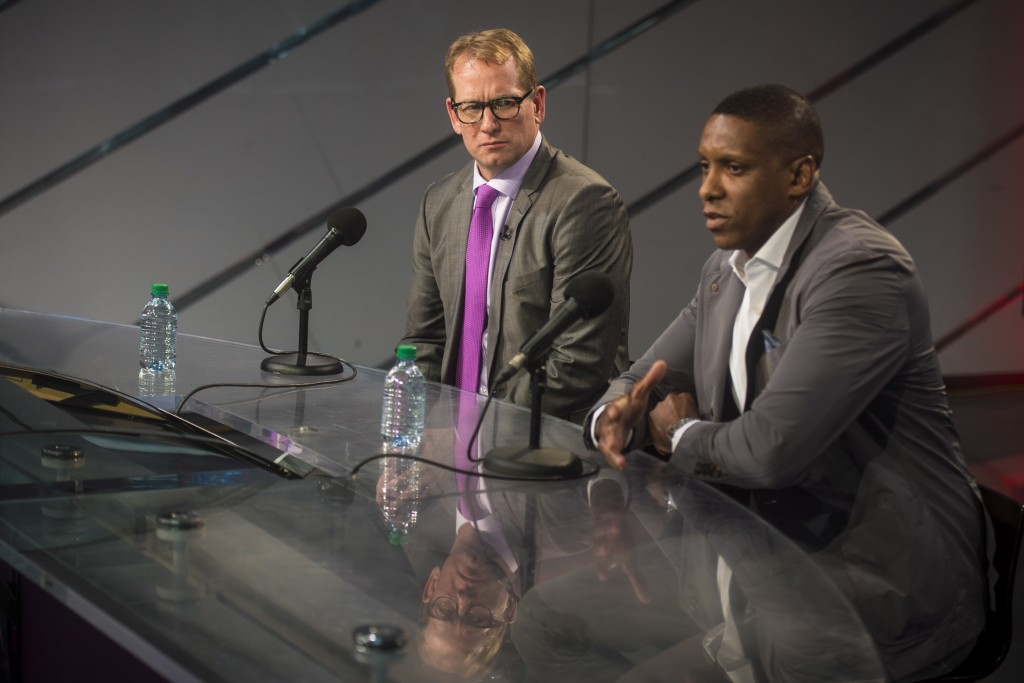 Nick Nurse, the new head coach of the Toronto Raptors, left, listens as Raptors president Masai Ujiri speaks during NBA basketball press conference at