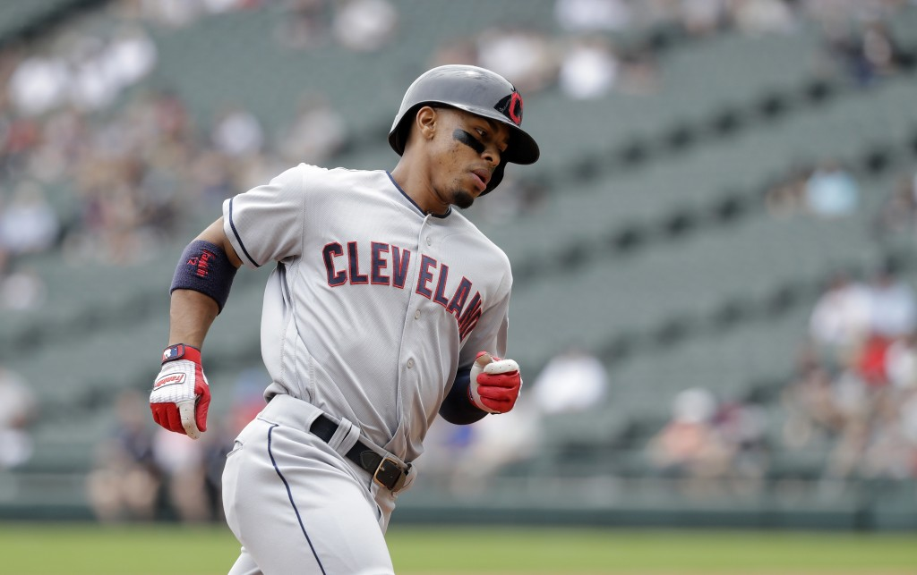 Cleveland Indians' Francisco Lindor heads for home after hitting a home run off Chicago White Sox starting pitcher Carlos Rodon during the first innin