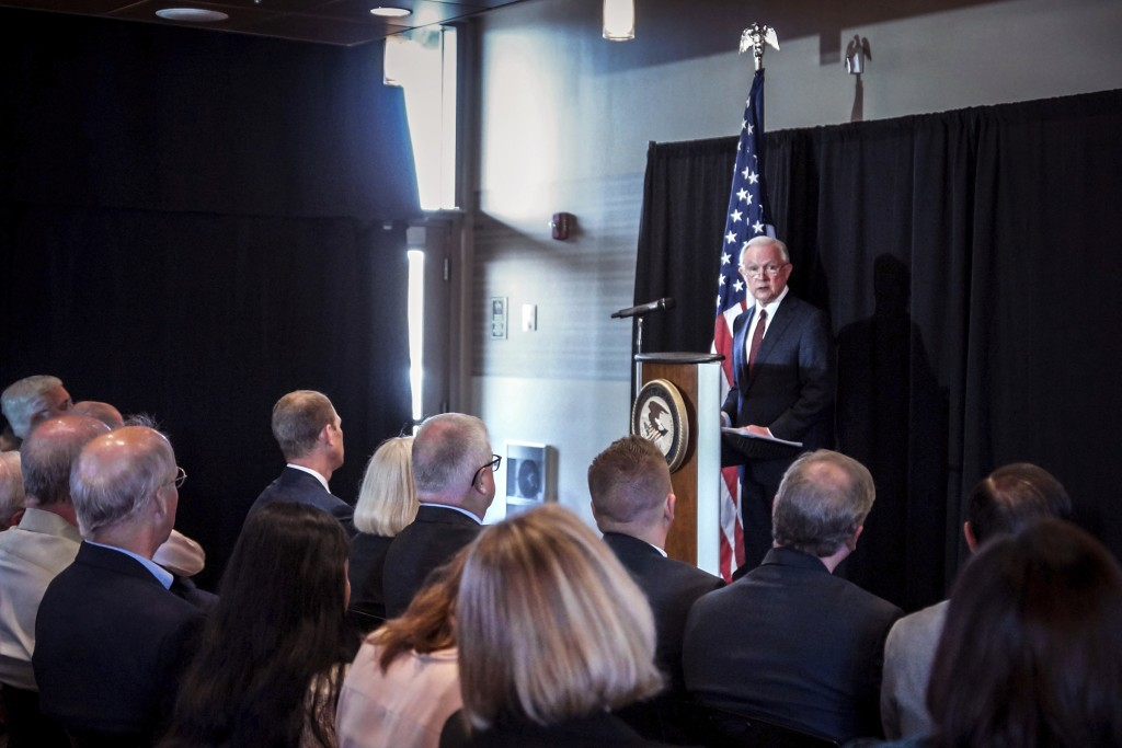 United States Attorney General Jeff Sessions speaks about immigration at Parkview Field in Fort Wayne, Ind., Thursday, June 14, 2018. Sessions cited t