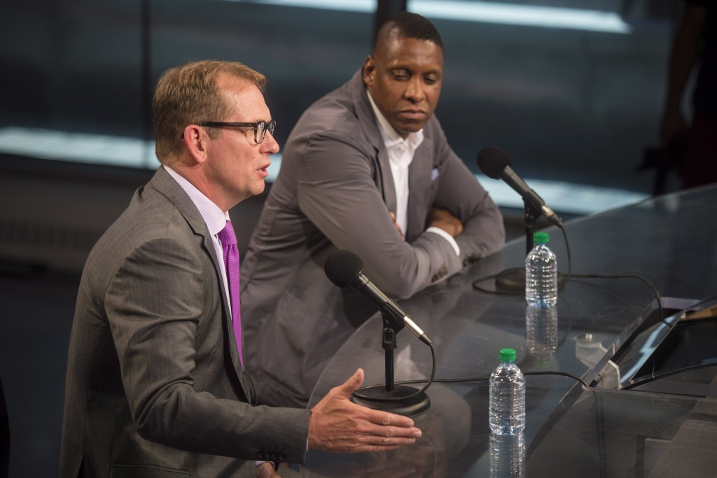 Nick Nurse, the new head coach of the Toronto Raptors, left, speaks Raptors president Masai Ujiri listens during NBA basketball press conference at th