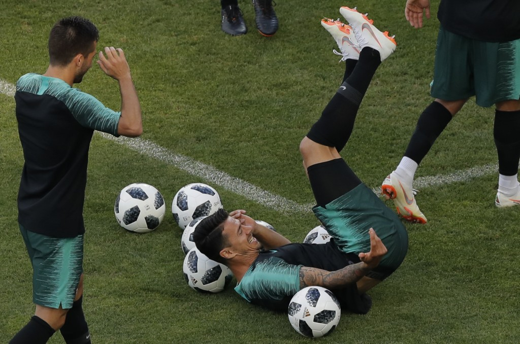 Portugal's Jose Fonte takes part during a Portugal's official training on the eve of the group B match between Portugal and Spain at the 2018 soccer W