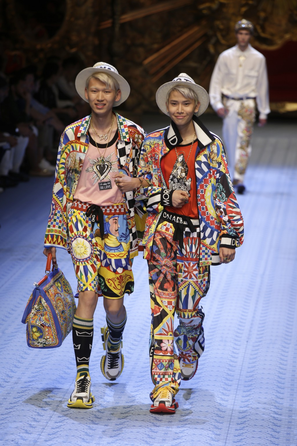 2dba2b16d Models wear creations as part of Dolce & Gabbana's men's 2019 Spring-Summer  collection,