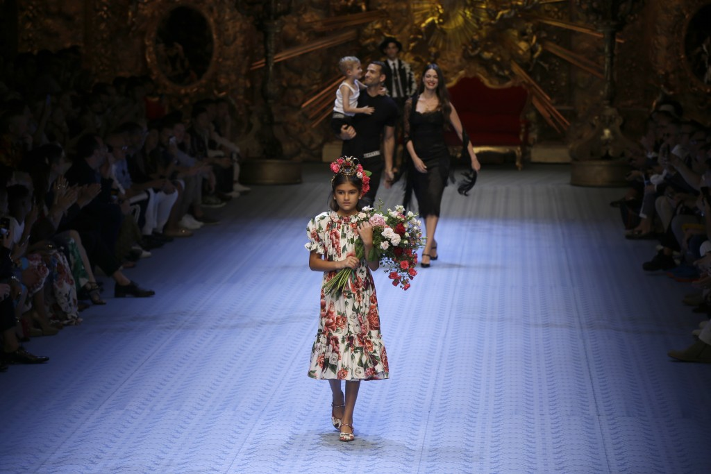ae491bccd A model wears a creation as part of Dolce & Gabbana's men's 2019  Spring-Summer