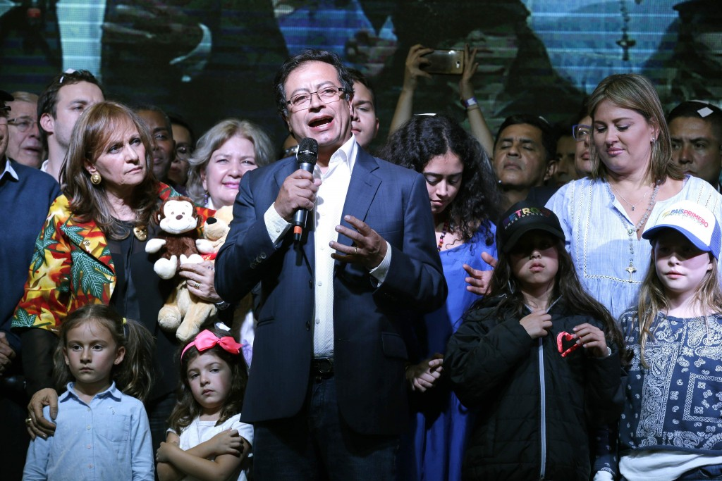 Gustavo Petro, presidential candidate for Colombia Humana, speaks to his supporters, after his rival Ivan Duque won the election, in Bogota, Colombia,...