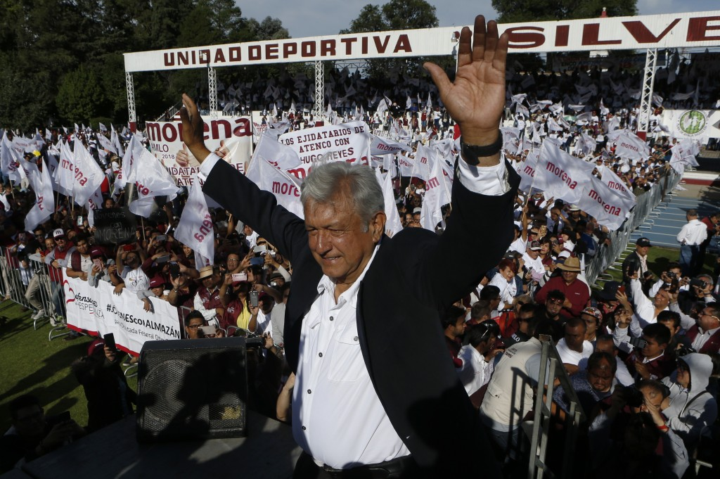 """Presidential candidate Andres Manuel Lopez Obrador of the MORENA party arrives to a campaign rally in Texcoco, Mexico, Sunday, June 17, 2018. """"I think..."""