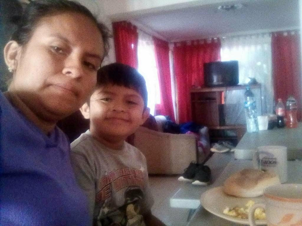 In this self portrait taken in Mexico in May 2018, Blanca Orantes-Lopez poses for a photo with her 8-year-old son, Abel Alexander, during the monthlon...