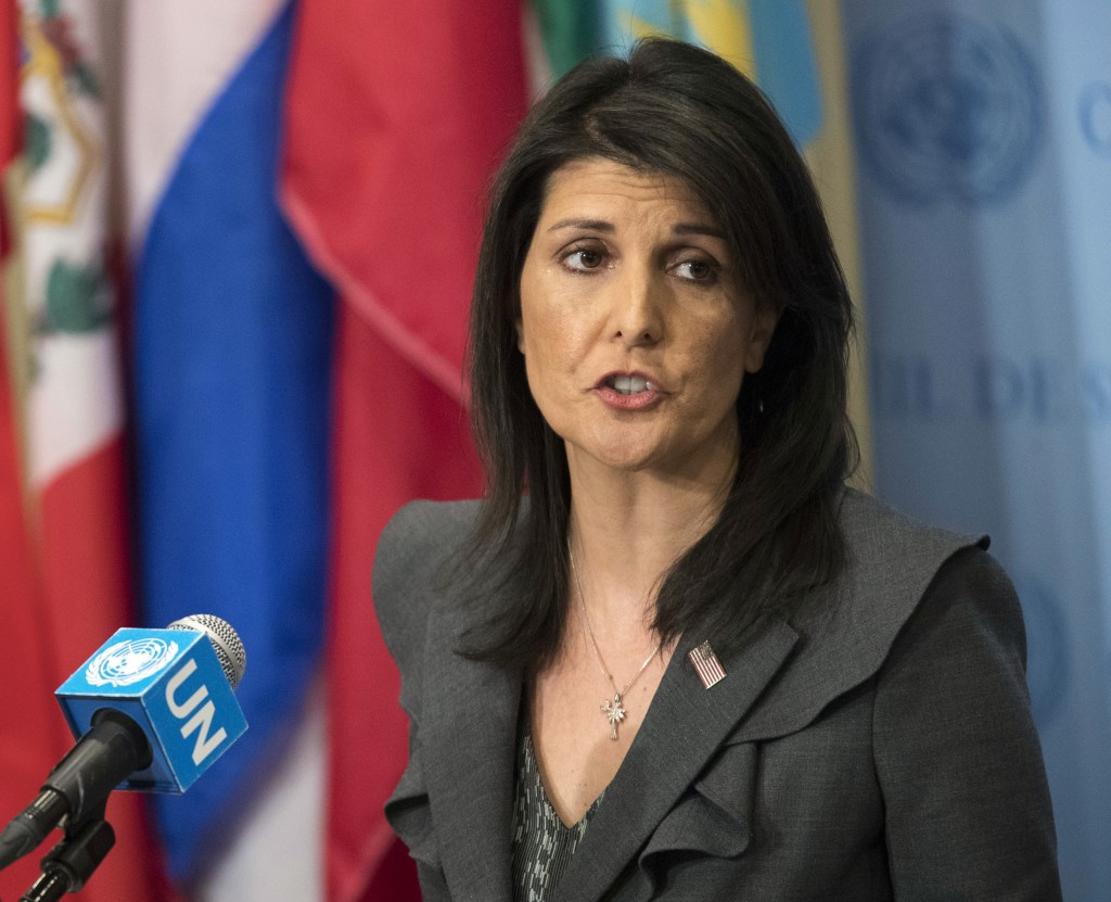 FILE - In this Jan. 2, 2018, file photo, United States Ambassador to the United Nations Nikki Haley speaks to reporters at United Nations headquarters...
