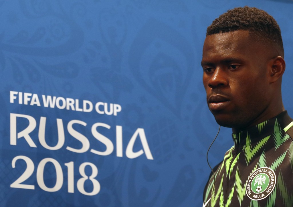 Nigeria goalkeeper Francis Uzoho arrives for a press conference on the eve of the group D match between Nigeria and Iceland at the 2018 soccer World C