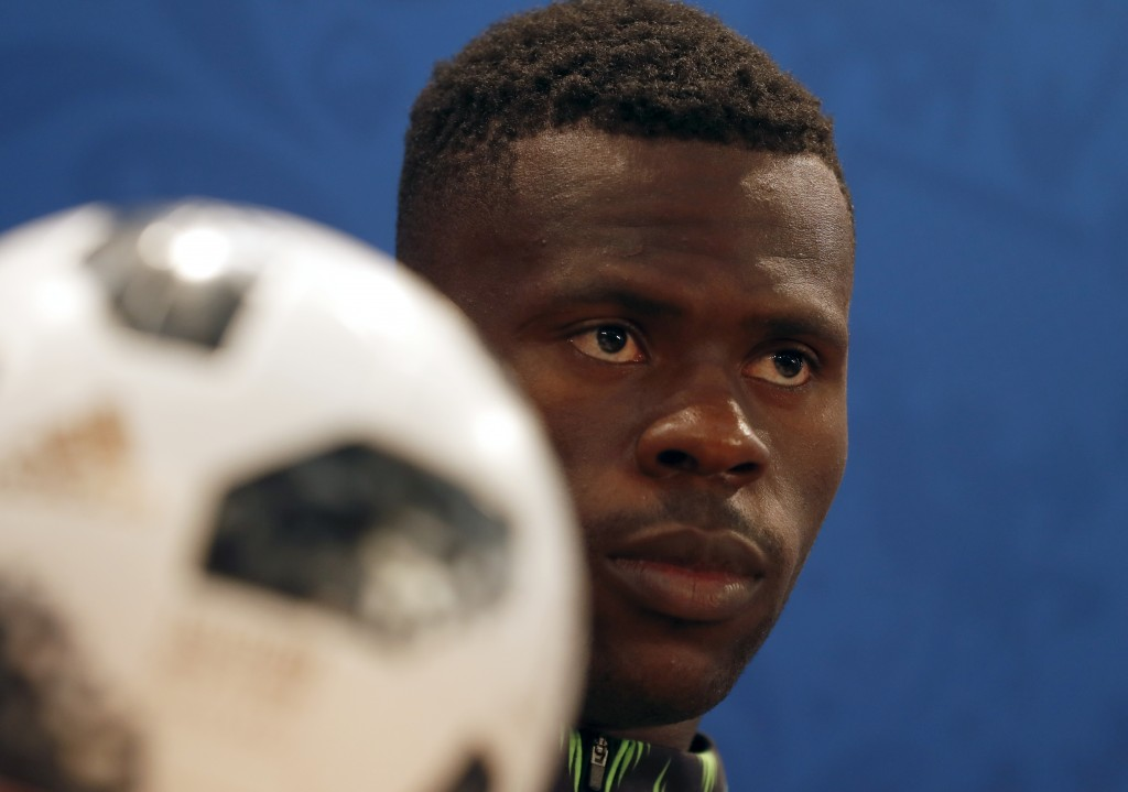Nigeria goalkeeper Francis Uzoho speaks during a press conference on the eve of the group D match between Nigeria and Iceland at the 2018 soccer World...