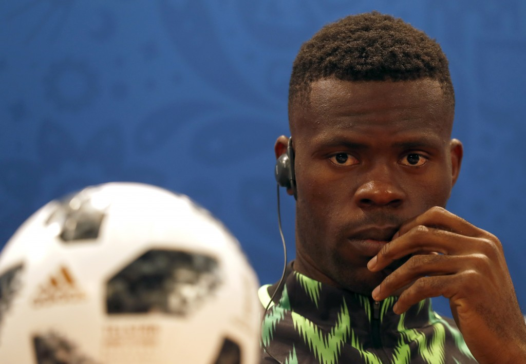 Nigeria goalkeeper Francis Uzoho listens to a question during a press conference on the eve of the group D match between Nigeria and Iceland at the 20...