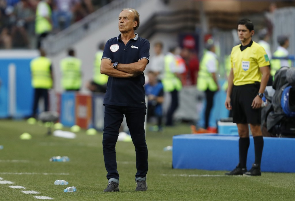 Nigeria head coach Gernot Rohr watches his team during the group D match between Nigeria and Iceland at the 2018 soccer World Cup in the Volgograd Are