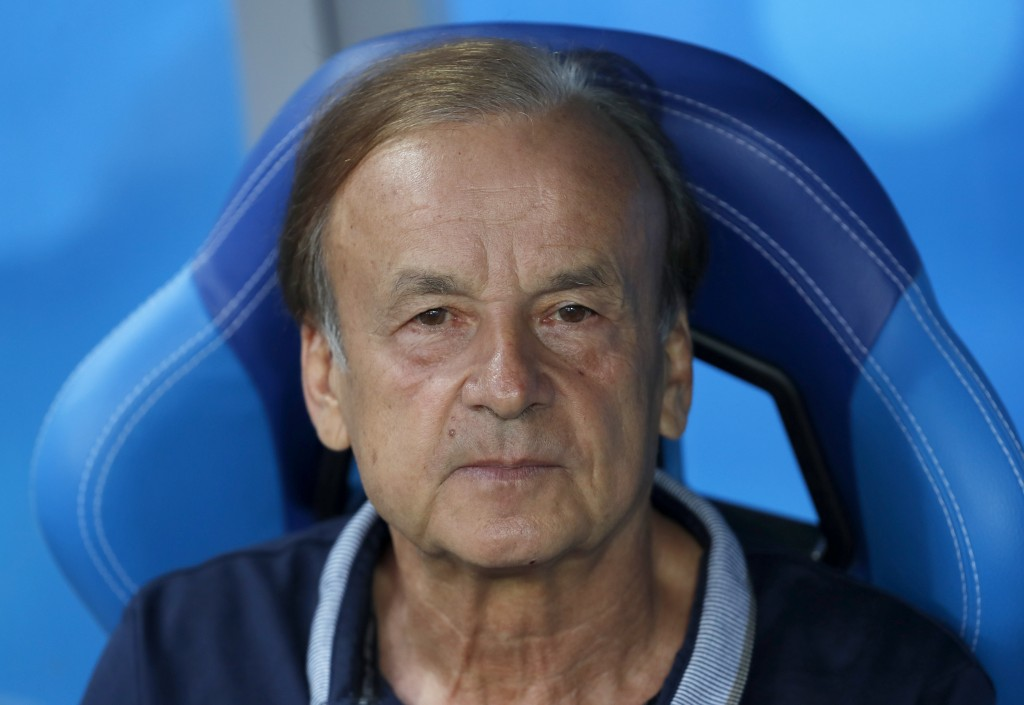 Nigeria coach Germany's Gernot Rohr waits for the start of the group D match between Nigeria and Iceland at the 2018 soccer World Cup in the Volgograd