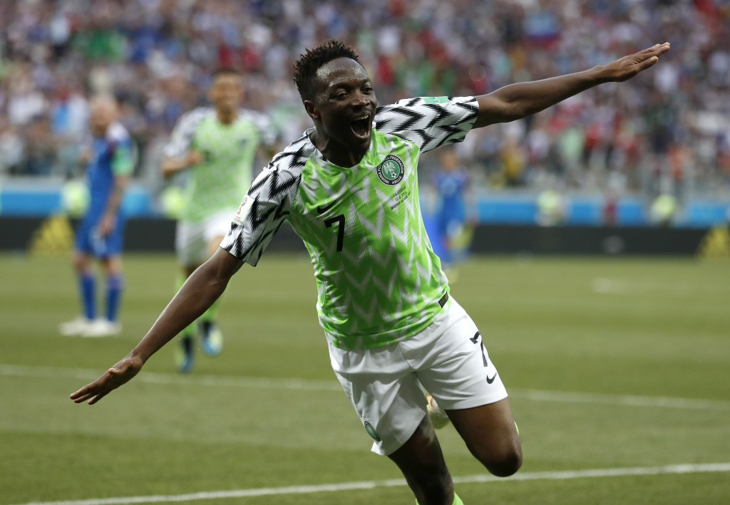 Nigeria's Ahmed Musa celebrates after scoring his team's second goal during the group D match between Nigeria and Iceland at the 2018 soccer World Cup...