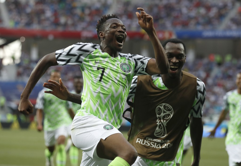 Nigeria's Ahmed Musa celebrates his team's second goal during the group D match between Nigeria and Iceland at the 2018 soccer World Cup in the Volgog