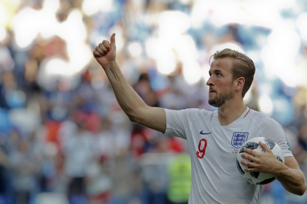England's Harry Kane celebrates his team's 6-1 victory at the end of the group G match between England and Panama at the 2018 soccer World Cup at the