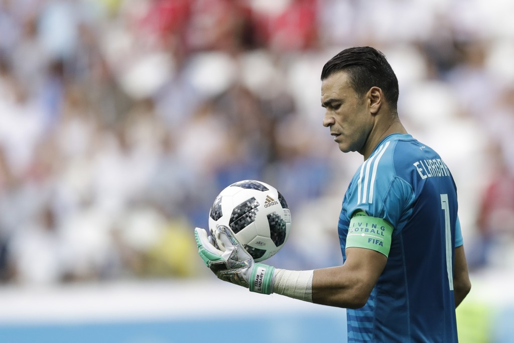 Egypt goalkeeper Essam El Hadary holds the ball during the group A match between Saudi Arabia and Egypt at the 2018 soccer World Cup at the Volgograd ...