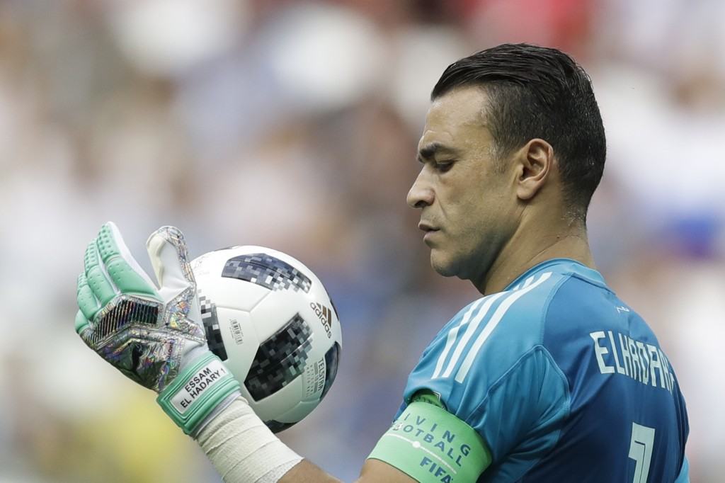 Egypt goalkeeper Essam El Hadary holds the ball during the group A match between Saudi Arabia and Egypt at the 2018 soccer World Cup at the Volgograd