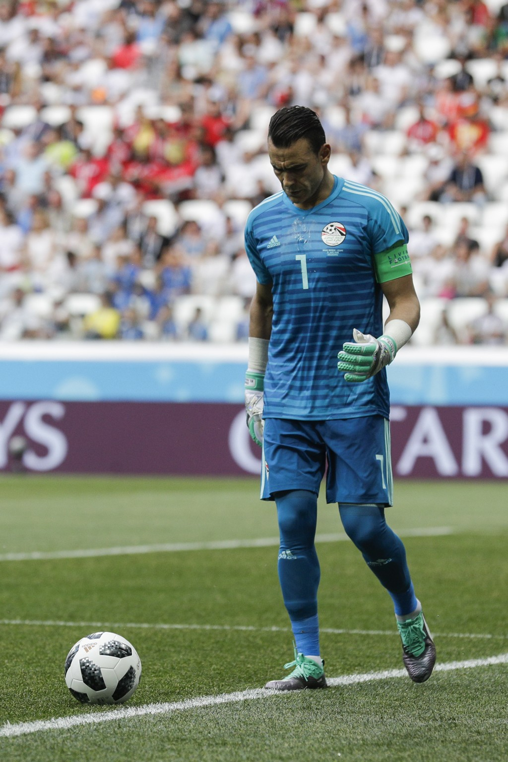 Egypt goalkeeper Essam El Hadary prepares to kick the ball during the group A match between Saudi Arabia and Egypt at the 2018 soccer World Cup at the...