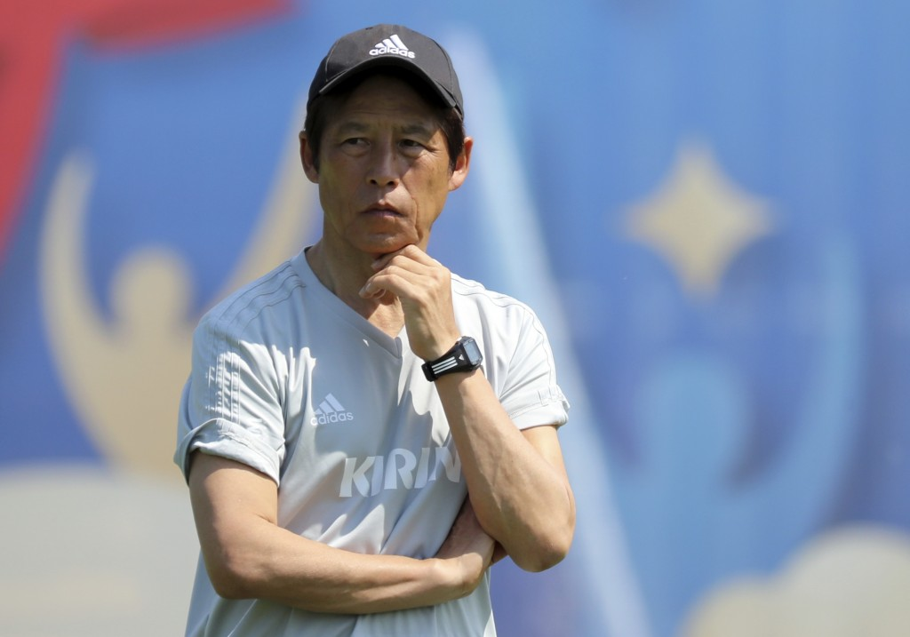 Japan's head coach Akira Nishino stands during a training session of Japan national team at the 2018 soccer World Cup in Kazan, Russia, Tuesday, June ...