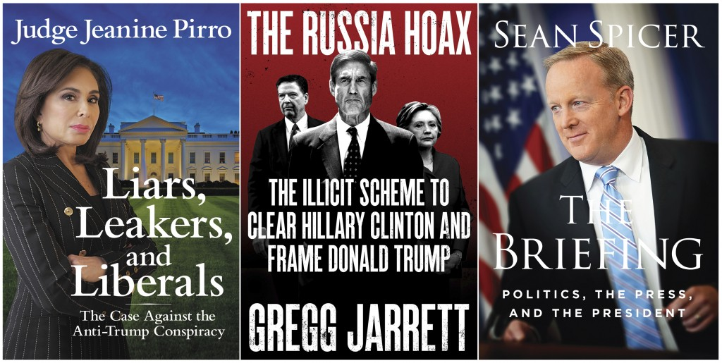 """This combination photo of book cover images shows  """"Liars, Leakers, and Liberals: The Case Against the Anti-Trump Conspiracy,"""" by Jeanine Pirro, from ..."""