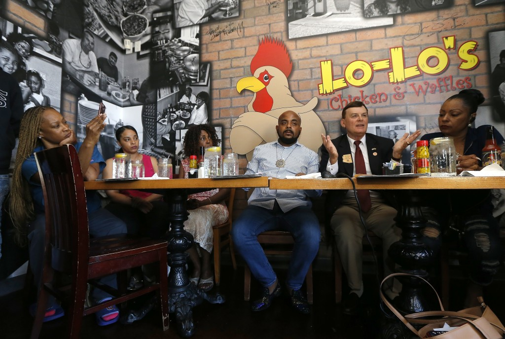 Arizona Rep. David Stringer, R-Prescott, second from right, speaks at a community forum to explain his recent offensive racial remarks, with other com...