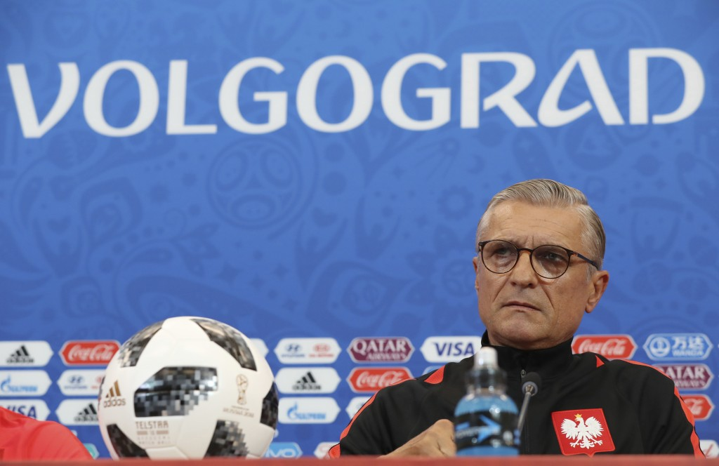 Poland head coach Adam Nawalka attends Poland's official press conference on the eve of the group H match between Poland and Japan at the Volgograd Ar
