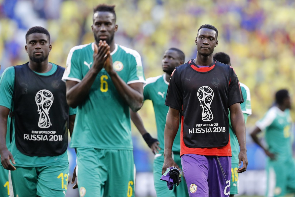 Senegal's players leave the field after the group H match between Senegal and Colombia, at the 2018 soccer World Cup in the Samara Arena in Samara, Ru