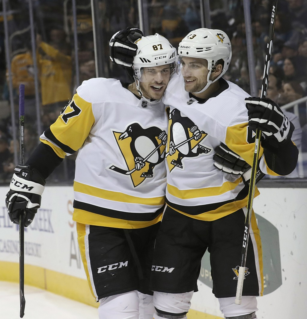 FILE - In this Jan. 20, 2018, file photo, Pittsburgh Penguins center Sidney Crosby , left, and left wing Conor Sheary celebrate after Sheary scored a