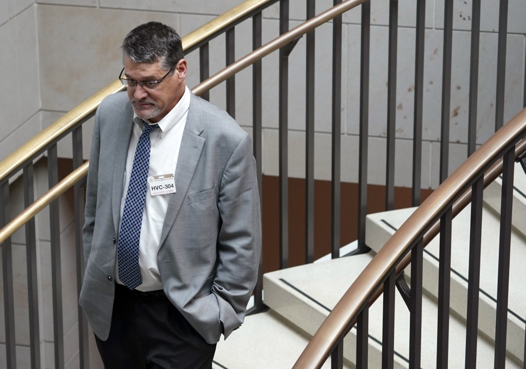 FILE - In this Tuesday, Nov. 14, 2017 file photo, Glenn R. Simpson, co-founder of the research firm Fusion GPS, arrives for a scheduled appearance bef...