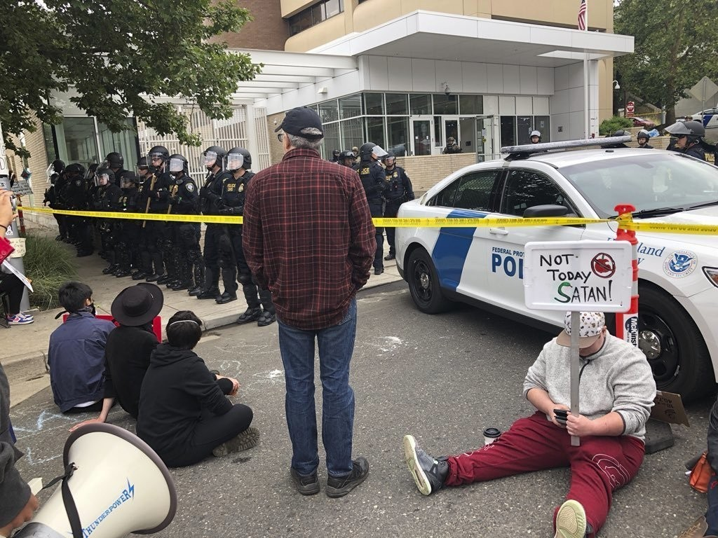 Protesters set up camp around U.S. Immigration and Customs Enforcement building, Thursday, June 28, 2018 in Portland, Ore. Federal officers arrested e...
