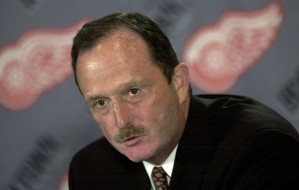 FILE - In this July 17, 2002, file photo, Detroit Red Wings coach Dave Lewis speaks during a news conference in Detroit. Lewis, who an assistant with ...