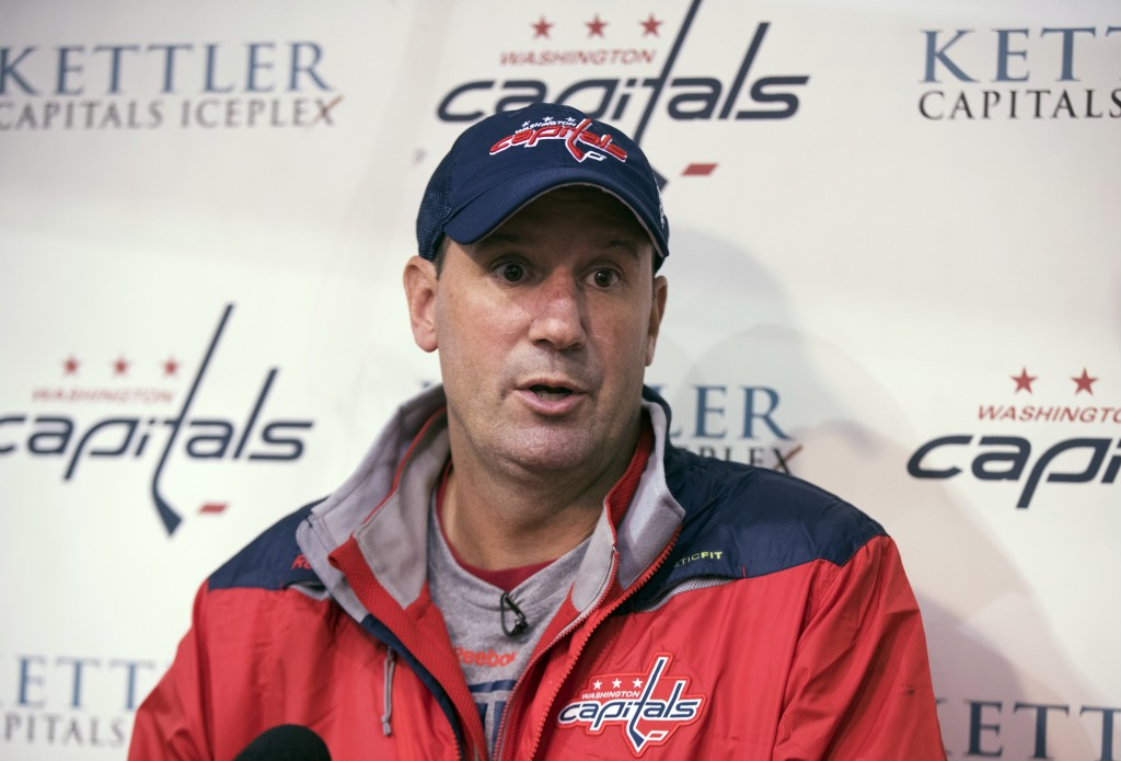 FILE - In this Sept. 23, 2016, file photo, Washington Capitals assistant coach Todd Reirden speaks to reporters during the first day of NHL hockey tra...