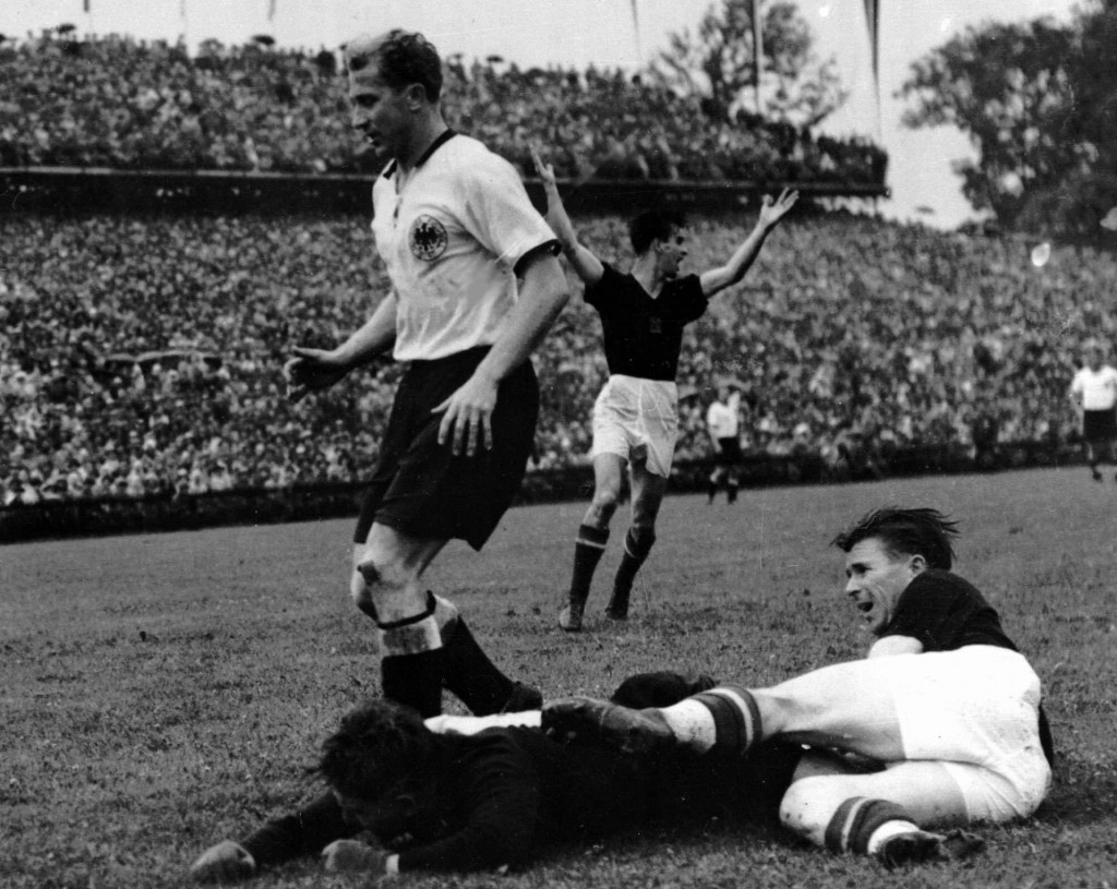 FILE - In this July 5, 1954 file photo, Hungarian captain Ferenc Puskas, right, scores a goal that is subsequently disallowed during his team's 3-2 lo...