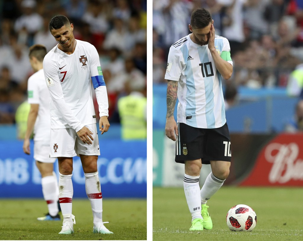 This combo photo shows Argentina's Lionel Messi, right, and Portugal's Cristiano Ronaldo reacting during their round of 16 matches respectively agains