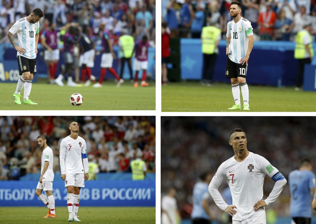 This combo photo shows Argentina's Lionel Messi, top, and Portugal's Cristiano Ronaldo reacting during their round of 16 matches respectively against