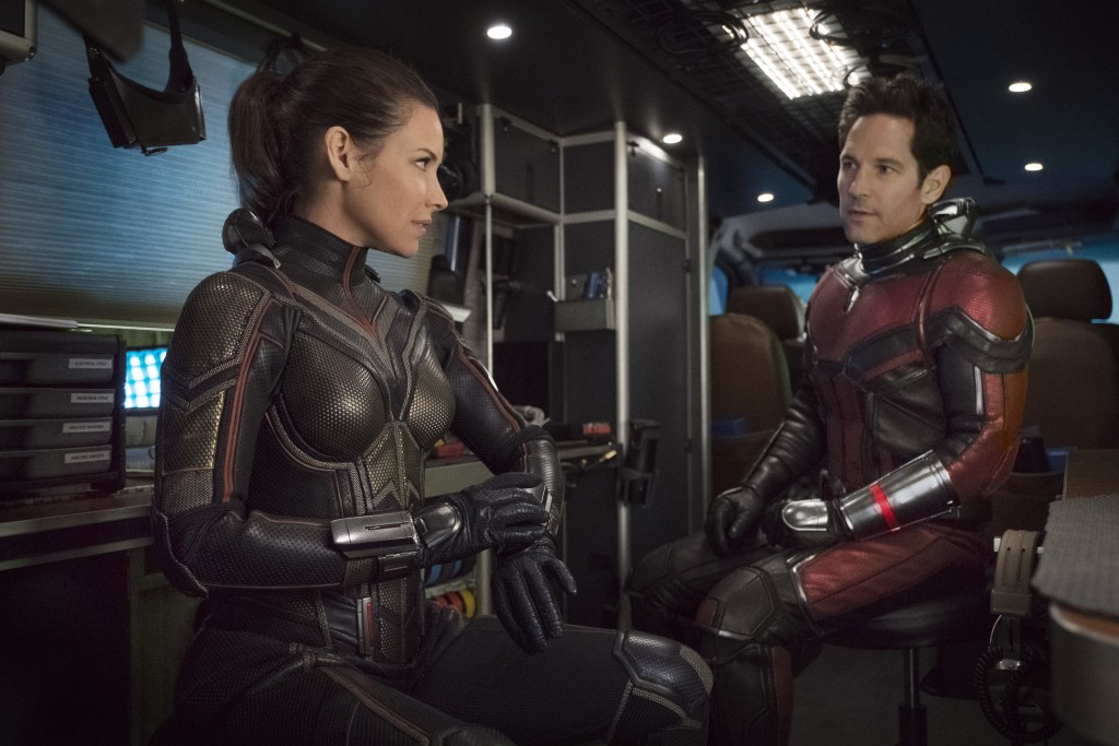 "This image released by Marvel Studios shows Evangeline Lilly, left, and Paul Rudd in a scene from ""Ant-Man and the Wasp."" (Disney/Marvel Studios via A"