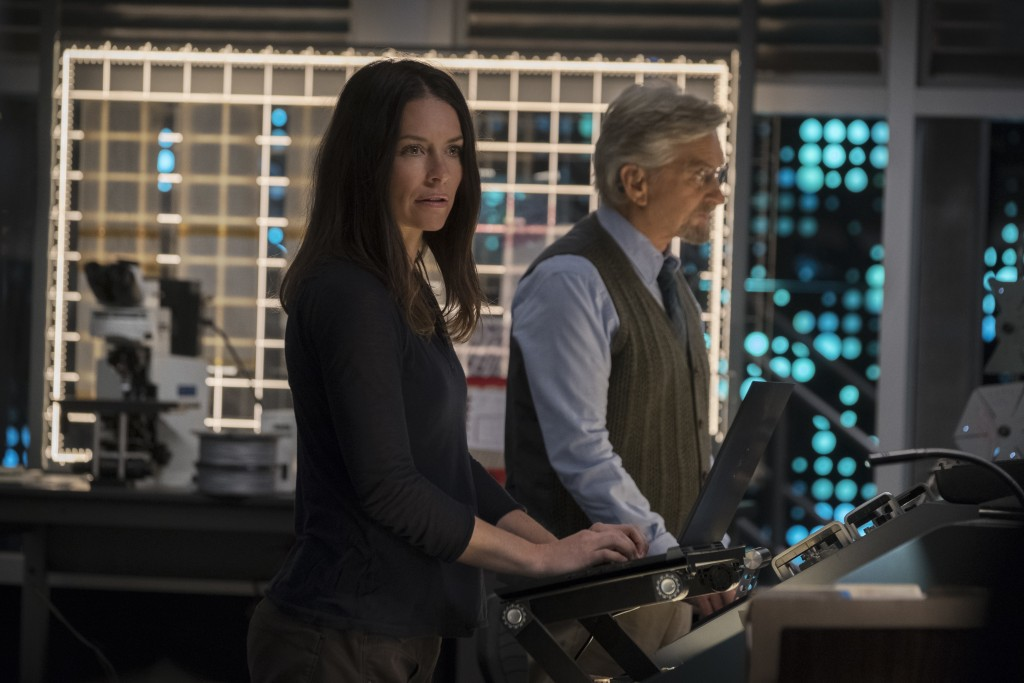 "This image released by Marvel Studios shows Evangeline Lilly and Michael Douglas in a scene from ""Ant-Man and the Wasp."" (Disney/Marvel Studios via AP..."