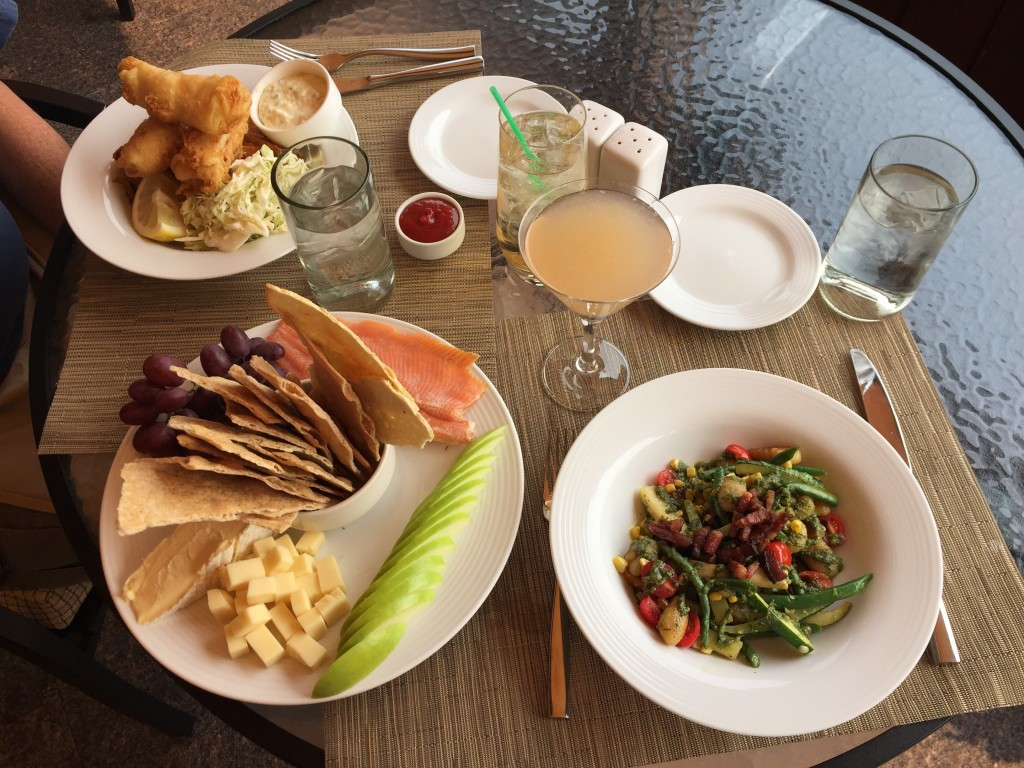 This Sept. 7, 2017 photo shows a scrumptious spread at Gretchen's restaurant at Idaho's famed Sun Valley Resort in Ketchum. Hotel hallways at the reso...