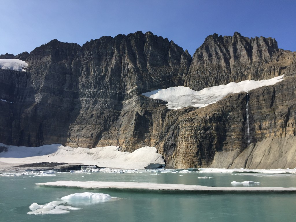 This Sept. 5, 2017 photo shows Grinnell Glacier at the turnaround point of an 11-mile round-trip hike in Glacier National Park in Montana. According t...