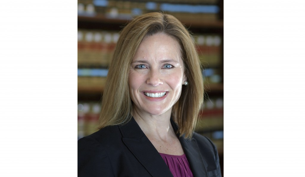 This 2017 photo provided by the University of Notre Dame Law School in South Bend, Ind., shows Judge Amy Coney Barrett. Barrett is on President Donald...
