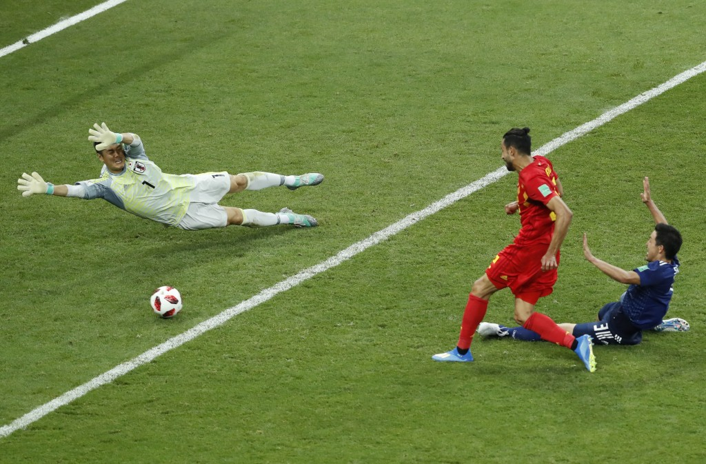 elgium's Nacer Chadli, center, scores his third side goal during the round of 16 match between Belgium and Japan at the 2018 soccer World Cup in the R