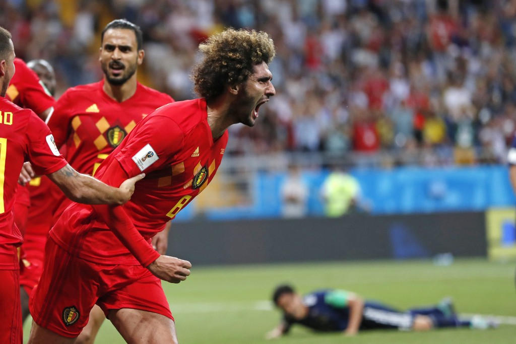 Belgium's Marouane Fellaini celebrates after scoring his side's second goal during the round of 16 match between Belgium and Japan at the 2018 soccer ...