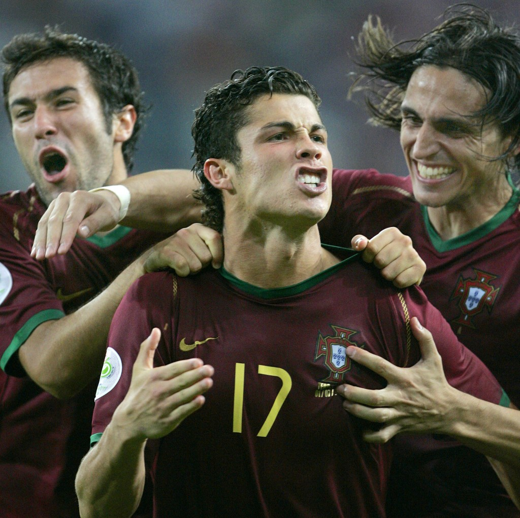 FILE - In this Saturday, July 1, 2006 file photo, Portugal's Cristiano Ronaldo celebrates with teammates after scoring the winning penalty kick in a s...