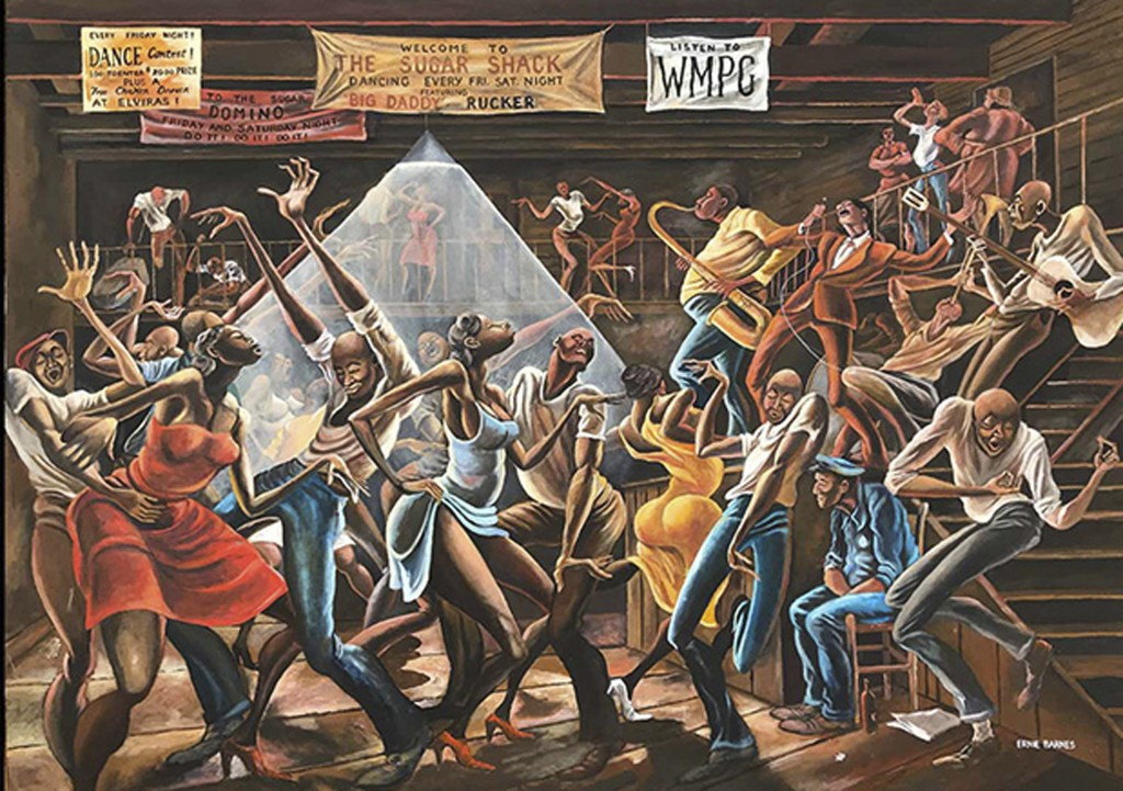 """This photo made available by the Ernie Barnes Family Trust shows the painting titled """"Sugar Shack,"""" created by Ernie Barnes in 1976. The state history..."""