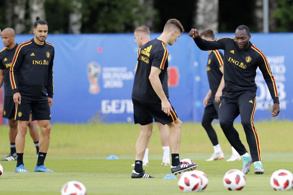 Belgium's Romelu Lukaku, right, and Belgium's Nacer Chadli, left, warm up during the 2018 soccer World Cup the day before the quarter final World Cup