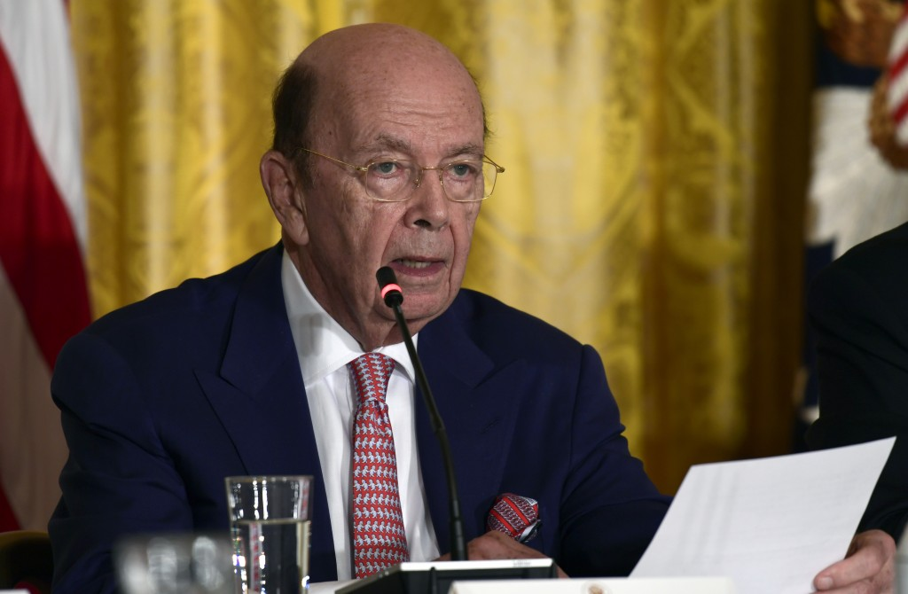 FILE - In this June 18, 2018, file photo, Commerce Secretary Wilbur Ross speaks at a National Space Council meeting in the East Room of the White Hous...