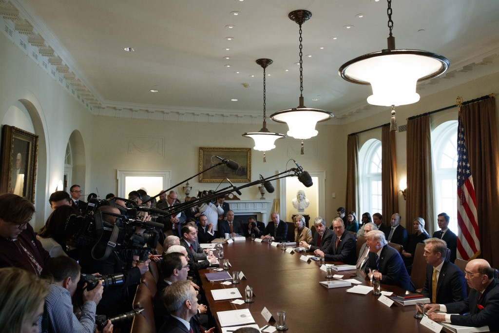 FILE - In this Nov. 20, 2017, file photo, President Donald Trump speaks during a cabinet meeting at the White House in Washington. Trump's cabinet off...