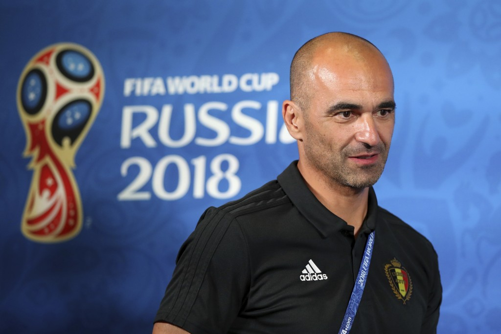 Belgium coach Roberto Martinez arrives for the official press conference at the eve of their quarterfinal match against Brazil at the 2018 soccer Worl