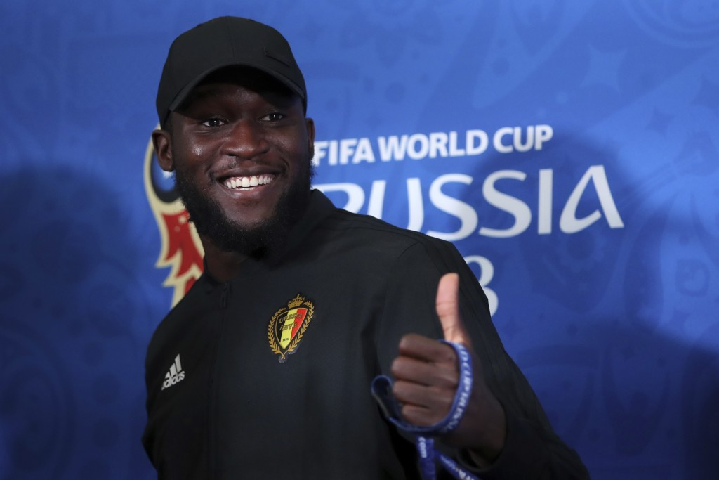 Belgium's Romelu Lukaku gives a thumps up to the journalists during the official press conference at the eve of their quarterfinal match against Brazi